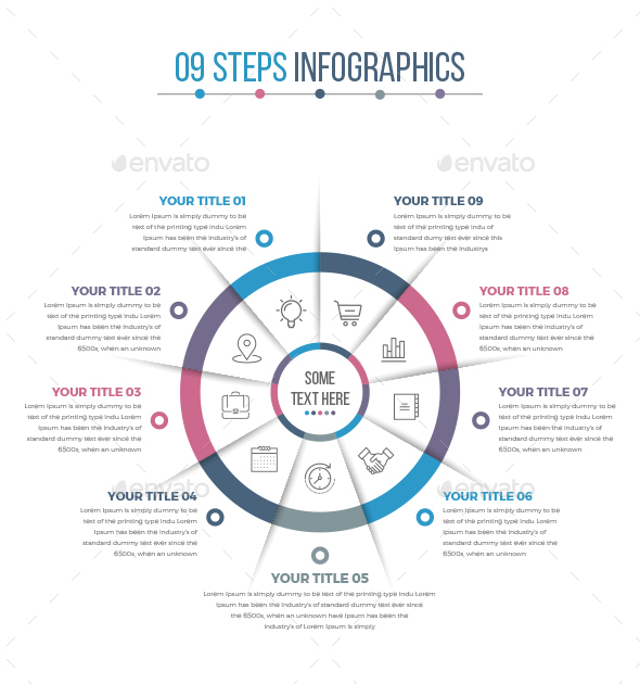 Business Circle Infographics with 09 Steps - Infographics
