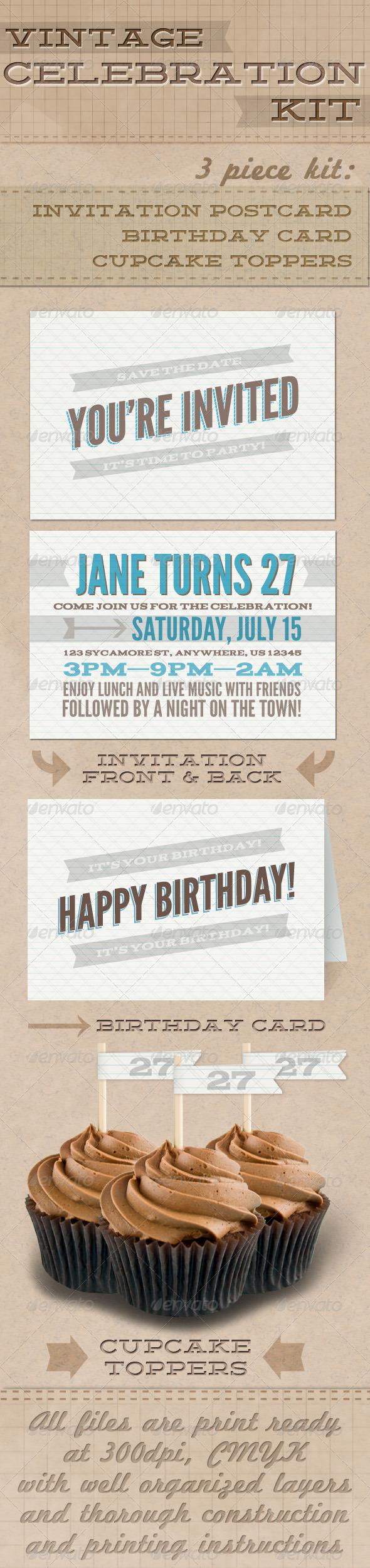 Vintage Celebration Kit - Greeting Cards Cards & Invites