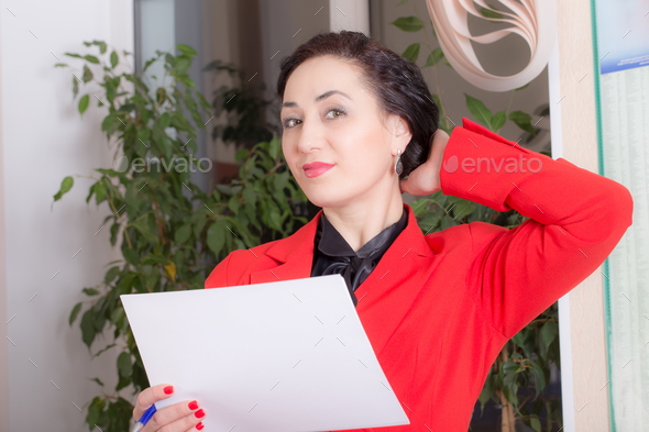 Business woman holding the document. - Stock Photo - Images