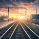 Railway station and beautiful colorful sky at sunset - PhotoDune Item for Sale