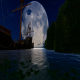 Old Ship At Night And Big Moon - VideoHive Item for Sale