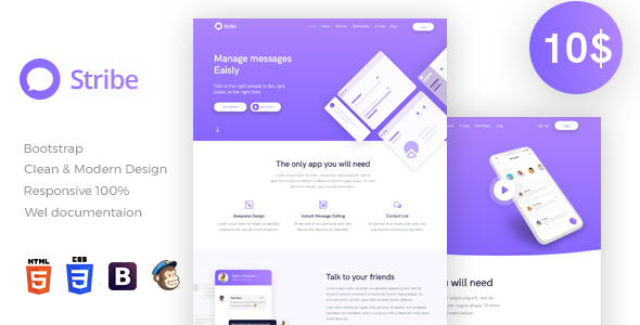 Stribe App Landing Page - Technology Site Templates