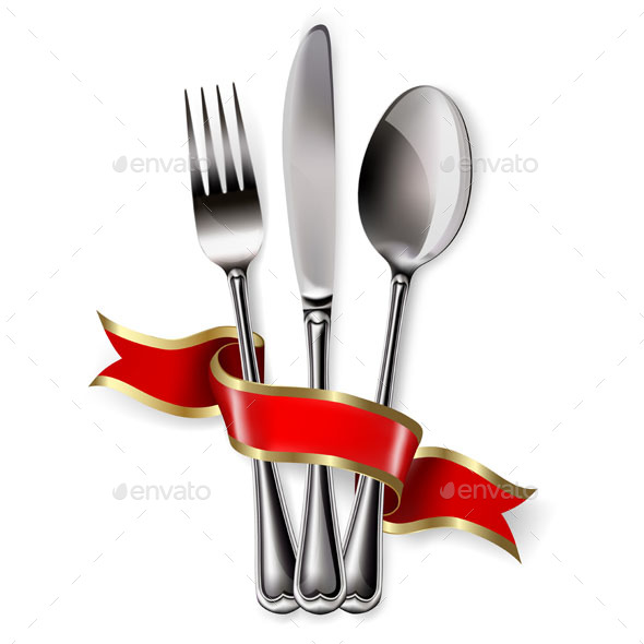 Ribbon wqith Spoon, Knife and Fork - Food Objects
