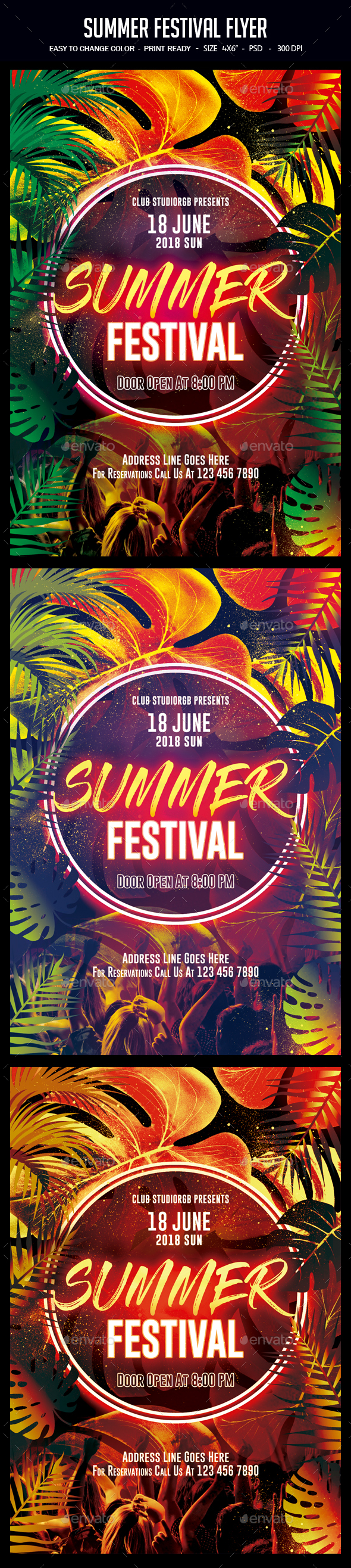 Summer Festival Flyer - Clubs & Parties Events