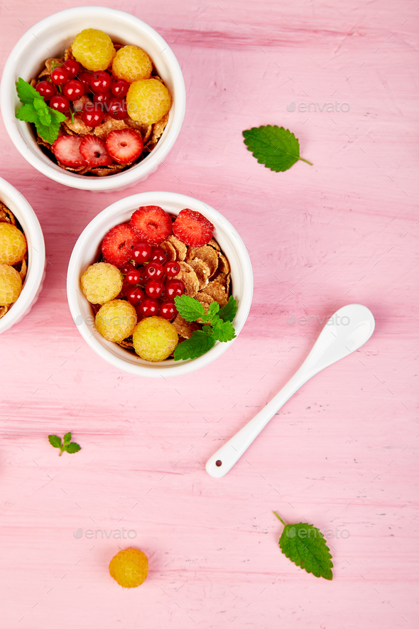 Healthy breakfast on white bowls. - Stock Photo - Images