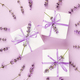 White Gift box with violet ribbon and lavender - PhotoDune Item for Sale
