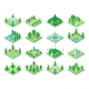 Isometric Green Park or Garden Trees