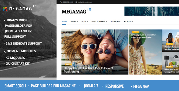 Megamag - K2 Magazine and Bloging for Joomla 3 Responsive Templates - News / Editorial Blog / Magazine