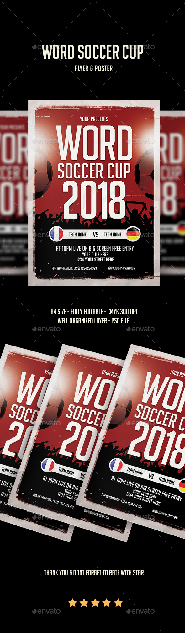 Word Soccer Cup Flyer - Flyers Print Templates