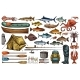 Fishing Equipment and Fisherman Trophy Fish Sketch