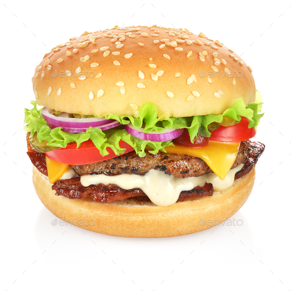 Hamburger isolated on white - Stock Photo - Images
