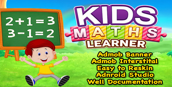 Kids Maths Learner + Kids Education Game + (Admob + Android Studio) Ready For Publish - CodeCanyon Item for Sale
