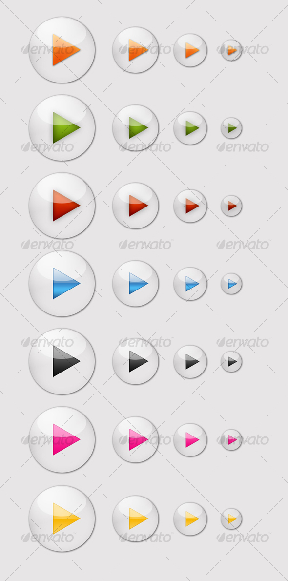 7 Glossy Play Icons - Media Icons