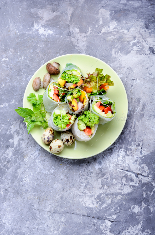 Fresh spring roll - Stock Photo - Images