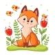 Fox Sitting on a Flower Meadow