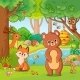 Fox and Bear in the Forest - GraphicRiver Item for Sale
