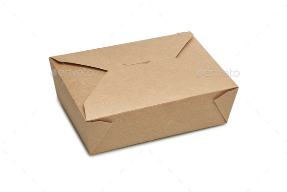 Delivery blank carton box for ready to eat food - Stock Photo - Images