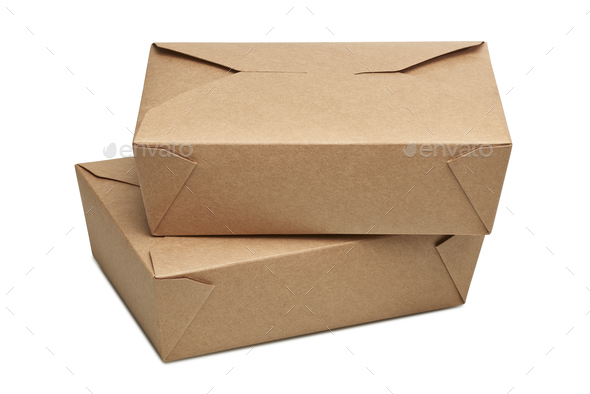 Two delivery blank carton box for ready to eat food - Stock Photo - Images
