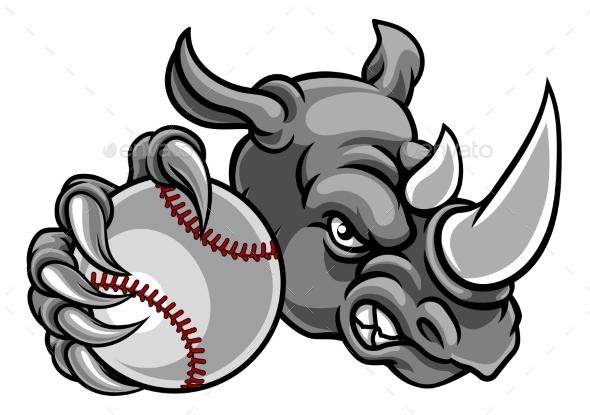 Rhino Baseball Sports Mascot - Sports/Activity Conceptual