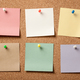 Colorful blank sticky notes on cork board - PhotoDune Item for Sale