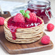 Stack of pancakes or fritters with raspberry jam and berries on - PhotoDune Item for Sale