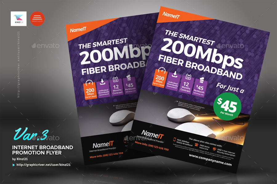 Internet Broadband Promotion Flyer Templates By Kinzi21 Graphicriver