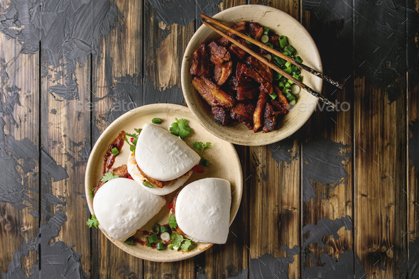 Gua bao buns with pork - Stock Photo - Images
