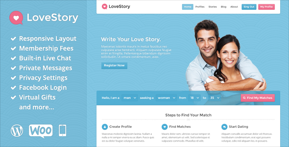 Dating site wordpress template