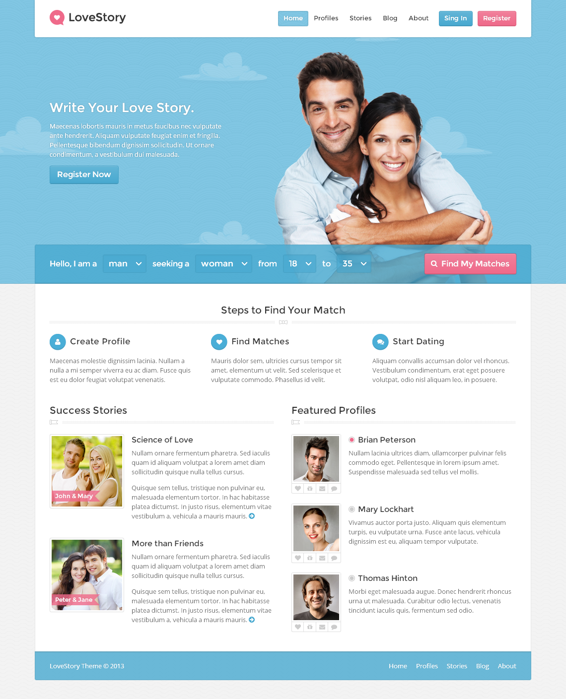 Free dating site wordpress theme