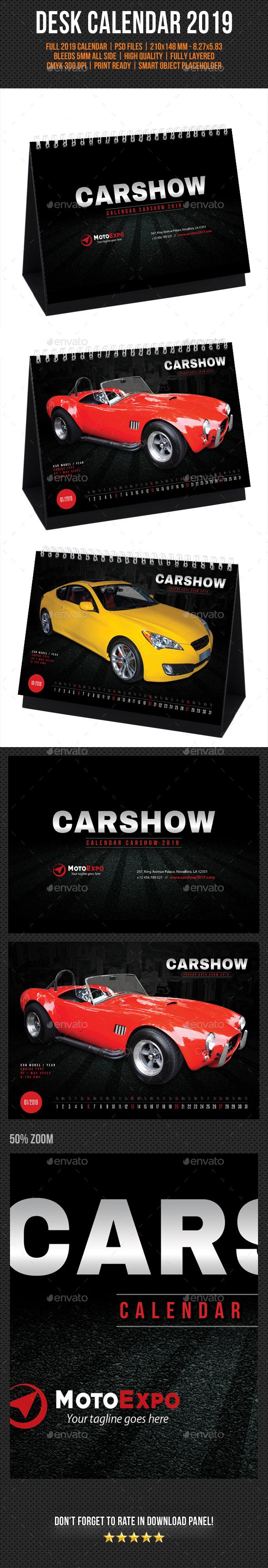 Auto Show Desk Calendar 2019 - Calendars Stationery