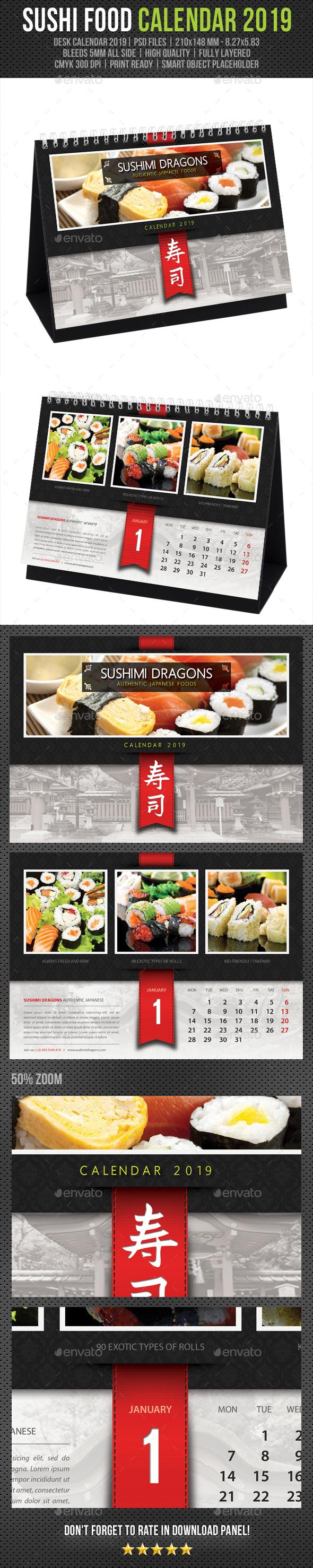 Sushi Restaurant Desk Calendar 2019 - Calendars Stationery
