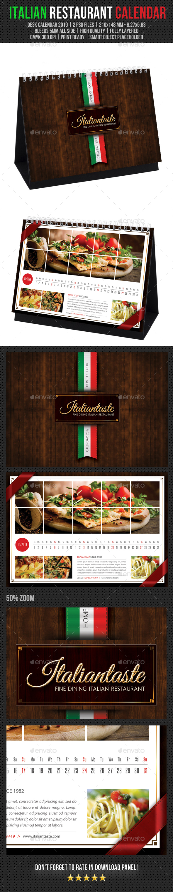 Italian Restaurant Desk Calendar 2019 - Calendars Stationery