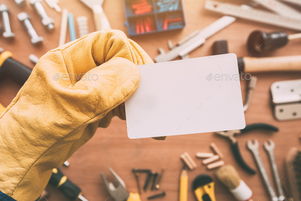 Repairman blank business card as copy space - Stock Photo - Images