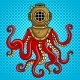 Octopus and Old Diver Helmet Pop Art Vector - GraphicRiver Item for Sale