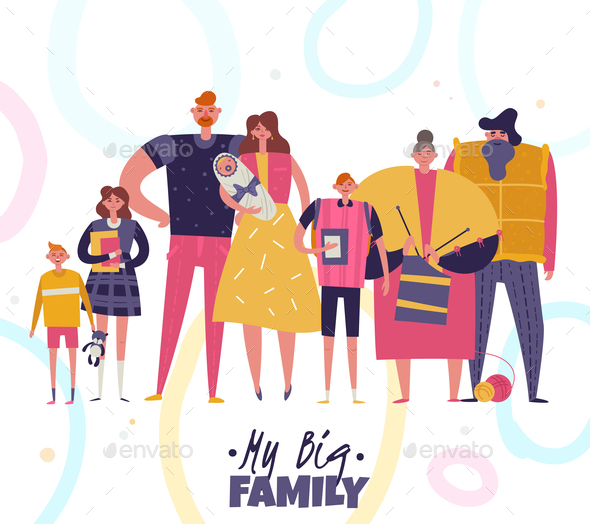 Big Family Vector Illustration - Patterns Decorative