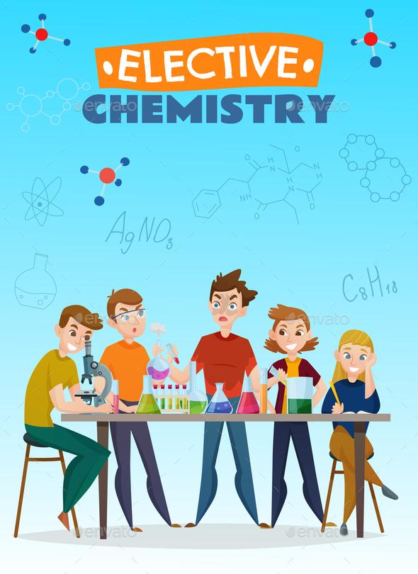 Elective Chemistry Cartoon Poster - Miscellaneous Vectors