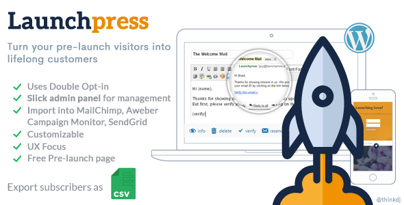 Launchpress: Upcoming Site Launch WP Plugin with Subscription Management & Double Opt-in            Nulled