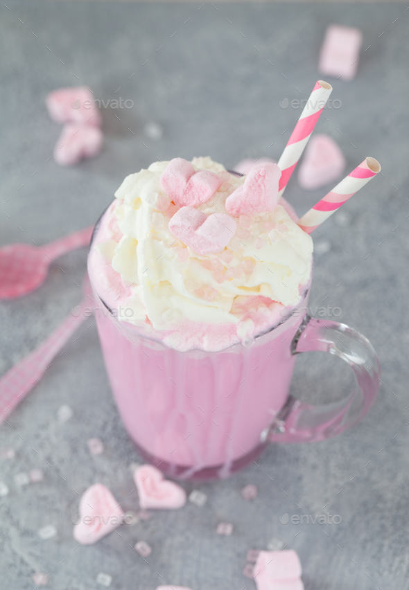 Pink hot chocolate with marshmallows - Stock Photo - Images