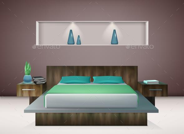 Bedroom Interior Realistic - Miscellaneous Vectors