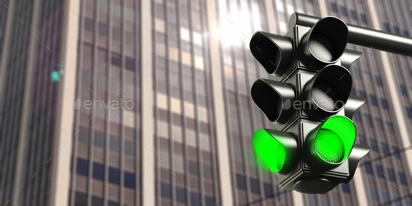 Green traffic lights on office building background, copy space. - Stock Photo - Images