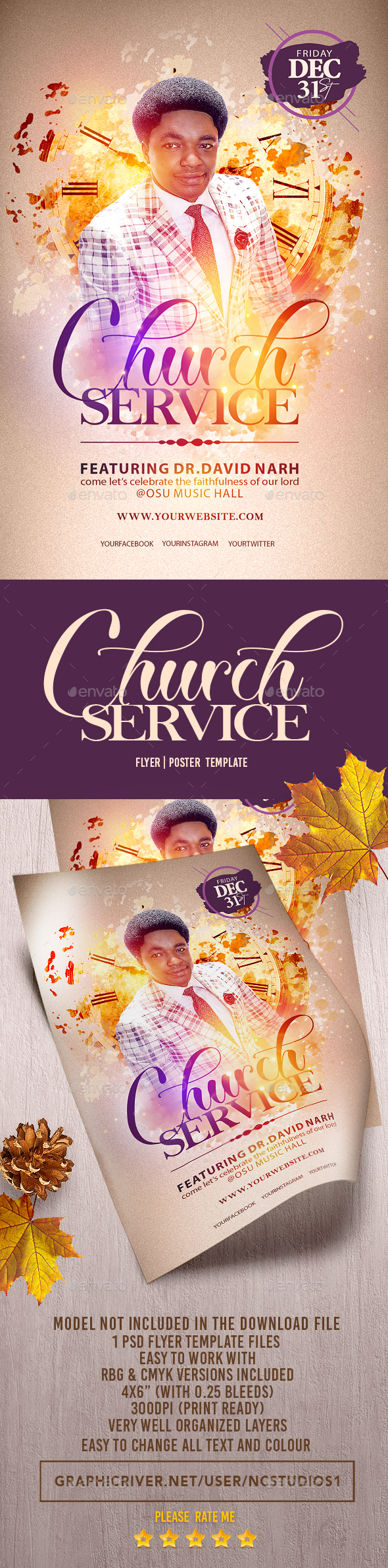 Church Service Flyer Template - Events Flyers