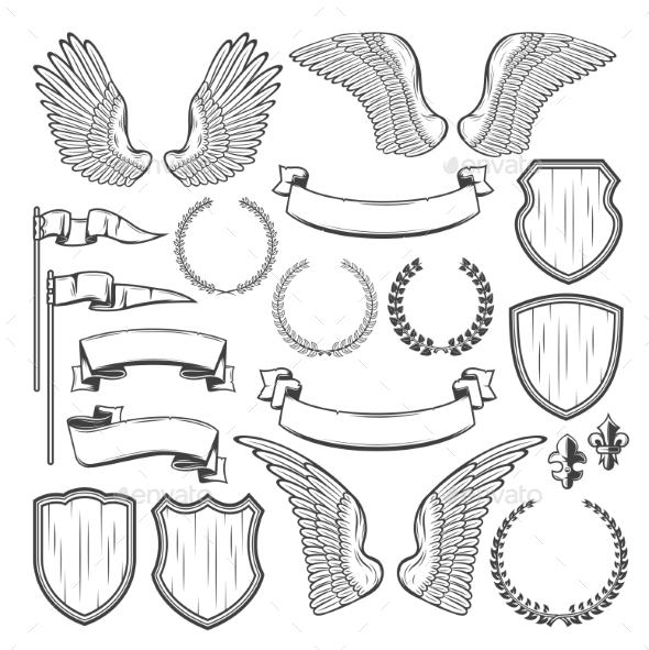 Heraldic Element for Medieval Badge Crest Design - Miscellaneous Vectors