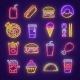 Fast Food and Drink Neon Light Sign for Signboard - GraphicRiver Item for Sale