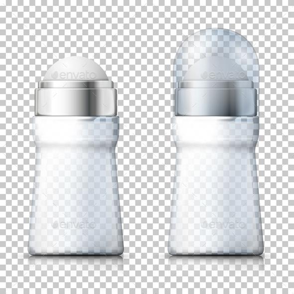 Vector Realistic Transparent Deodorant Bottles - Health/Medicine Conceptual