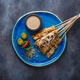 Indonesian chicken skewers sate with peanut sauce and salad, top view, copyspace - PhotoDune Item for Sale