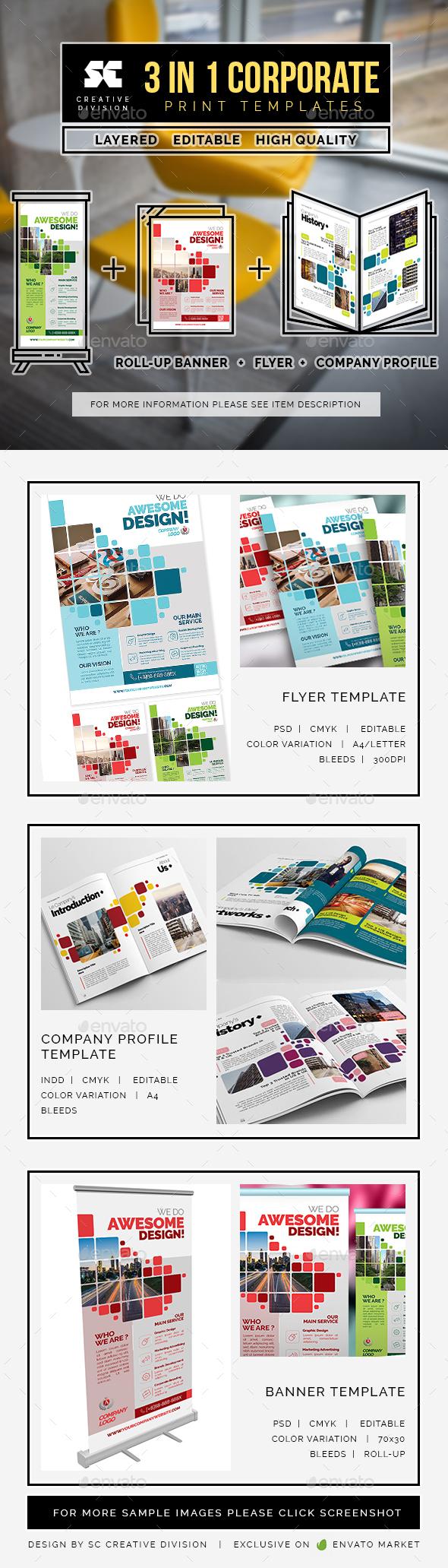 Business Bundle 3 In 1 - Miscellaneous Print Templates