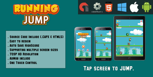 Running Jump - HTML5 Game - Mobile & Web (HTML5 & CAPX)            Nulled