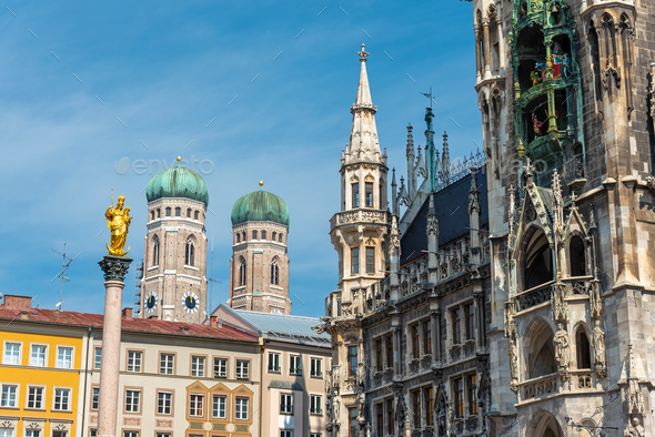 Detailed view of the architecture at the Marienplatz - Stock Photo - Images