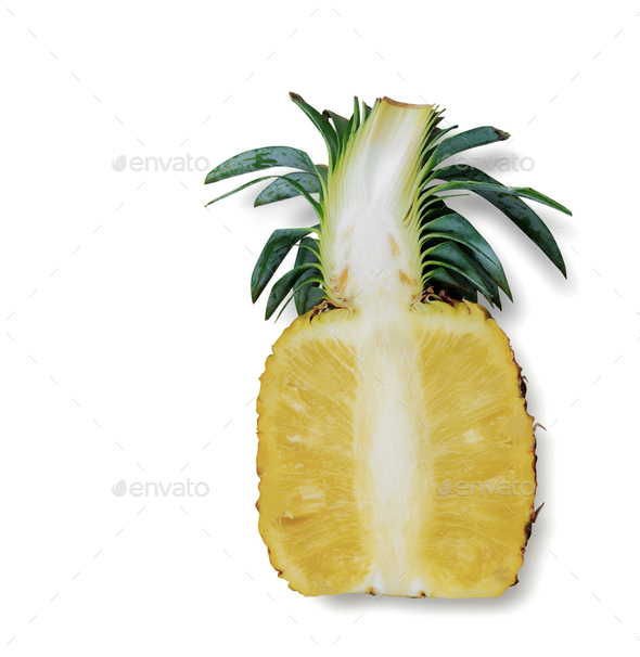 Pineapple cut of half - Stock Photo - Images