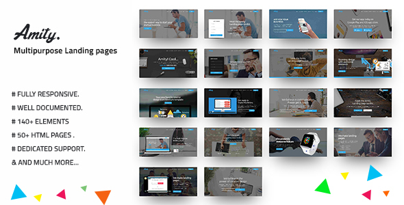Image of Multipurpose HTML5 Bootstrap Landing Page Pack — Amity